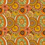 Colorful circle flower mandalas geometric seamless Stock Photography