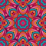 Colorful circle flower mandalas geometric seamless pattern Stock Images