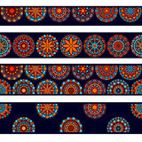 Colorful circle flower mandalas seamless borders collection in blue red and orange, vector. Background stock illustration
