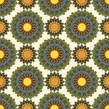 Colorful circle flower mandalas seamless pattern Stock Photo