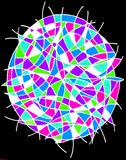 Colorful circle. A gel pen drawing of a colorful circle with curved lines on a black background Royalty Free Stock Images