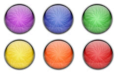 Colorful Circle Glass Web Icon Button Set Stock Photography