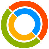 Colorful circle motif with two-part circles. Generic circular ic Stock Images