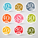 Colorful Circle Sale Vector Tags. On Grey Background Stock Photos