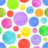 Colorful circle grunge seamless pattern. Colorful circle seamless pattern with grunge effect. Colorful abstract geometric round shape sphere disc disk texture on Stock Images