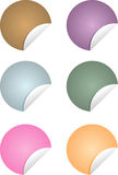 Colorful circle-shaped labels/stickers. Set of six colorful circle-shaped labels/stickers with paper curl Stock Photography