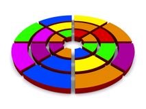 Colorful circle in wedges. Illustrated colorful circle divided into wedges against a white background Royalty Free Stock Image