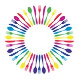 Colorful circled mandala cutlery restaurant. Royalty Free Stock Image