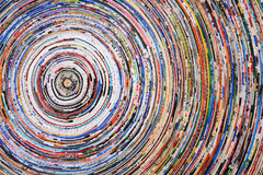 Colorful circles. Background of a colorful spiral of wrapped paper Stock Photos