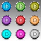 Colorful circles with bitcoin symbol royalty free stock image