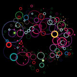 Colorful circles on black Stock Photos