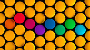 Colorful Circles on Black Background Royalty Free Stock Photos