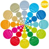 Colorful circles calendar 2009. Colorful calendar for 2009. lots of colorful circles, rotating design Vector Illustration