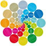 Colorful circles calendar 2009. Colorful and rotating calendar for 2009. lots of colorful circles stock illustration