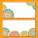Colorful circles floral mandala border in green and orange on white, two cards set, vector Stock Image