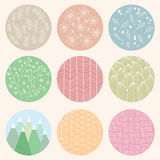 Colorful circles with flower and line patterns Stock Photo