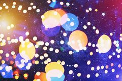 Colorful circles of light abstract background. Abstract blurred light background layout design can be use for background concept or festival background Royalty Free Stock Image