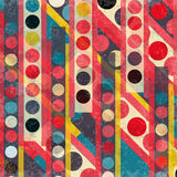 Colorful circles and lines retro style grunge effect Stock Image