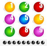 Colorful circles with numbers Stock Images