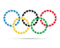 Colorful circles olympic emblem made with hand prints. Royalty Free Stock Photos