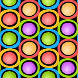 Colorful Circles Seamless Pattern. Colourful circles with balls inside pattern background. Seamless tile Stock Image