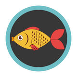 Colorful circular border with fish animal marine design. Vector illustration Stock Photos
