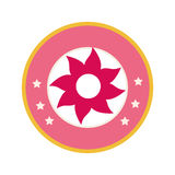 Colorful circular border with pink figure flower. Vector illustration Stock Photo