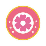 Colorful circular border with pink silhouette figure flower icon floral Royalty Free Stock Images