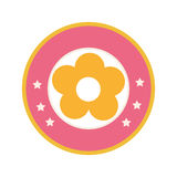 Colorful circular border with yellow silhouette figure flower icon floral. Vector illustration Royalty Free Stock Photo