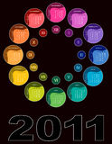 Colorful circular calendar 2011. On black background (English, Sunday first Royalty Free Stock Photo