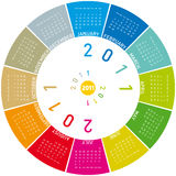 Colorful Circular Calendar 2011. Colorful calendar for 2011. Circular design. Week starts on Sunday royalty free illustration