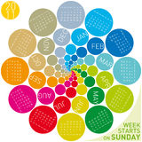 Colorful Circular Calendar 2011. Colorful calendar for 2011. Circular design. Week starts on Sunday vector illustration