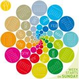 Colorful Circular Calendar 2011 Royalty Free Stock Photography