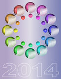 Colorful circular calendar 2014. (English, Sunday first royalty free illustration