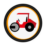 Colorful circular emblem with road roller Royalty Free Stock Photos
