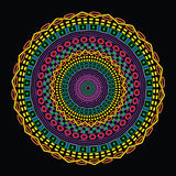 Colorful Circular Ethnic Design. Funky abstract geometric mandala on black background Royalty Free Stock Photography