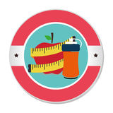 Colorful circular frame with apple and measuring tape and bottle Royalty Free Stock Images