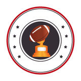 Colorful circular frame with football ball and Trophy Cup Royalty Free Stock Image