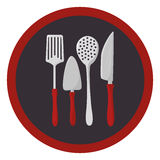 Colorful circular frame with utensils kitchen icon design Royalty Free Stock Images