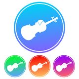 Colorful, circular, gradient violin silhouette white icon. Four color variations. Isolated on white Royalty Free Stock Photography