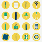 Colorful circular icons of office supplies. Circular and colorful icons of several office supplies as scissors, pencil, pen, compass, stiletto, calculator, ruler Royalty Free Stock Images