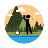 Colorful circular landscape with background mountains and golf player Royalty Free Stock Images