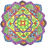 Hand-drawn circular ornament - mandala with floral elements. The colorful circular ornament with floral motifs can be used as a separate decorative element or as vector illustration