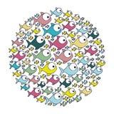 Colorful circular pattern fish aquatic animal. Illustration Stock Image