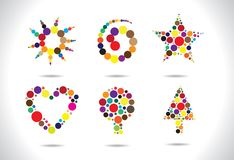 Colorful circular shapes arranged to form symbols Royalty Free Stock Photos