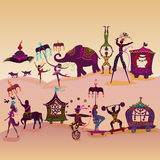 Colorful circus caravan on the road. Traveling colorful circus caravan with magician, elephant, dancer, acrobat and various fun characters Royalty Free Stock Images