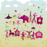 Colorful Circus Carnival Traveling In Two Rows During Daylight Royalty Free Stock Images