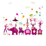 Colorful circus carnival traveling in one row on white backgroun. Traveling colorful circus caravan with magician, elephant, dancer, acrobat and various fun Royalty Free Stock Photo