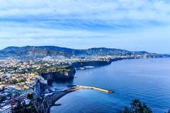 Towns and Harbors on Amalfi Coast. Colorful Cities along the Amalfi Coast in Italy stock images