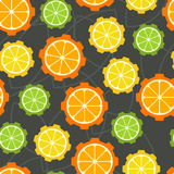 Colorful citrus cogs seamless pattern. Vector abstract backgroun Stock Photos